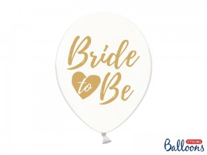 """Balony 30cm, Bride to be, Crystal Clear (1 op. / 6 szt.)"""