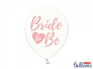 """Balony 30cm, Bride to be, Crystal Clear (1 op. / 50 szt.)"""