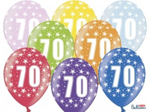 """Balony 30cm, 70th Birthday, Metallic Mix (1 op. / 6 szt.)"""
