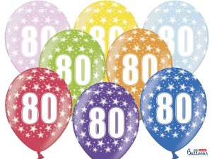 """Balony 30cm, 80th Birthday, Metallic Mix (1 op. / 6 szt.)"""