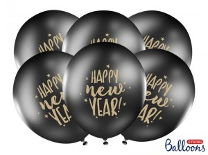 """Balony 30cm, Happy New Year, Pastel Black (1 op. / 6 szt.)"""