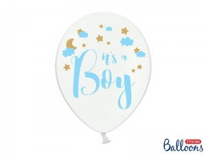 """Balony 30cm, It's a Boy, Pastel Pure White (1 op. / 6 szt.)"""