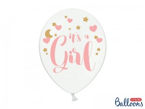"""Balony 30cm, It's a Girl, P. Pure White (1 op. / 6 szt.)"""