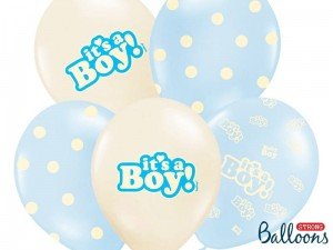 """Balony 30cm, It's a Boy, Pastel Mix (1 op. / 6 szt.)"""