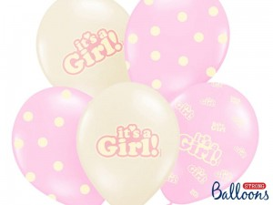 """Balony 30cm, It's a Girl, Pastel Mix (1 op. / 6 szt.)"""