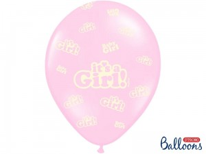 """Balony 30cm, It's a Girl, Pastel Baby Pink (1 op. / 6 szt.)"""