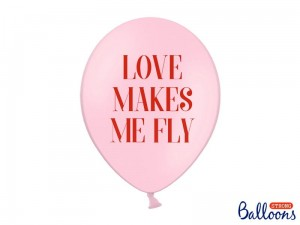 """Balony 30 cm, Love makes me fly, Pastel Baby Pink (1 op. / 50 szt.)"""