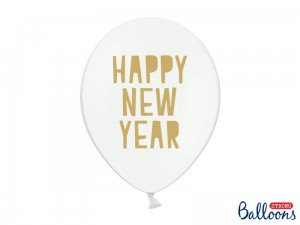 """Balony 30 cm, Happy New Year, Pastel Pure White (1 op. / 6 szt.)"""