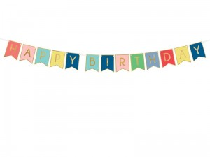 """Baner Happy Birthday, mix, 15 x 175 cm (1 karton / 50 op.)"""