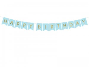 """Baner Happy Birthday, j. niebieski, 15 x 175 cm"""