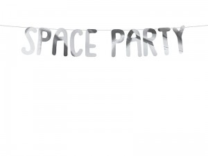 """Baner Kosmos -  Space Party, srebrny, 13x96cm"""