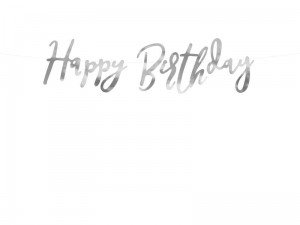 """Baner Happy Birthday, srebrny, 16,5x62cm (1 karton / 50 szt.)"""