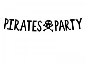 """Baner Piraci - Pirates Party, czarny, 14x100cm"""